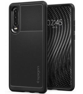 """Juodas dėklas Huawei P30 telefonui """"Spigen Rugged Armor"""""""
