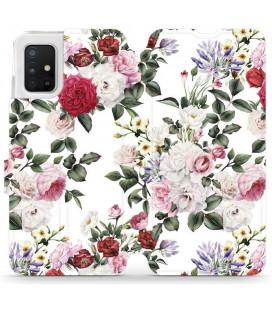 """Atverčiamas dėklas """"Gėlės"""" Samsung Galaxy A71 telefonui """"Mobiwear MD01S"""""""