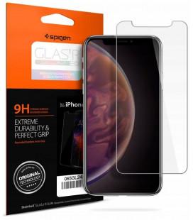 "Apsauginis grūdintas stiklas Apple iPhone XR / 11 telefonui ""Spigen Glas.TR Slim HD"""