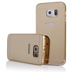 Auksinės spalvos metalinis rėmelis su veidrodiniu dangteliu Samsung Galaxy S6 Edge G925 telefonui