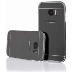 Pilkas metalinis rėmelis su veidrodiniu dangteliu Samsung Galaxy S7 G930 telefonui