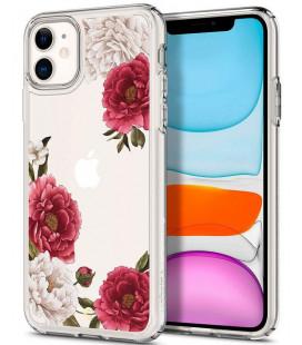 "Skaidrus dėklas Apple iPhone 11 telefonui ""Spigen Ciel Red Floral"""