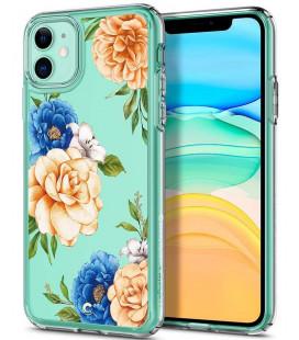 "Skaidrus dėklas Apple iPhone 11 telefonui ""Spigen Ciel Blue Floral"""