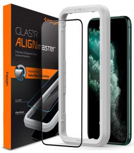 """Juodas apsauginis grūdintas stiklas Apple iPhone 11 Pro Max telefonui """"Spigen AlignMaster Glas tR"""""""