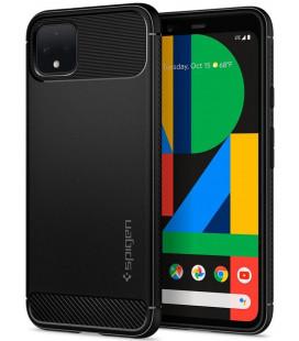 "Matinis juodas dėklas Google Pixel 4 telefonui ""Spigen Rugged Armor"""