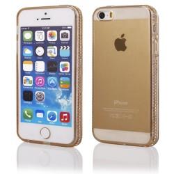"""Auksinės spalvos silikoninis dėklas su blizgučiais Apple iPhone 5/5s/SE telefonui """"Crystals"""""""