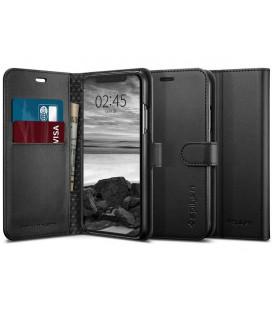 """Juodas atverčiamas dėklas Apple iPhone X / XS telefonui """"Spigen Wallet S"""""""