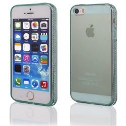 """Žalias silikoninis dėklas su blizgučiais Apple iPhone 5/5s/SE telefonui """"Crystals"""""""