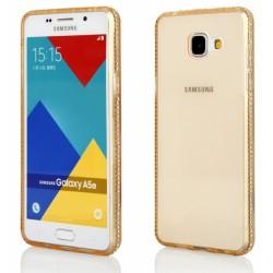 """Auksinės spalvos silikoninis dėklas su blizgučiais Samsung Galaxy A3 2016 A310 telefonui """"Crystals"""""""