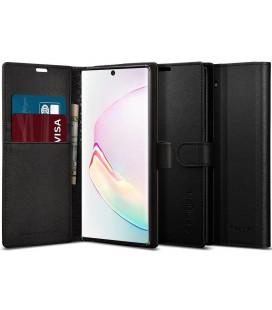 """Juodas atverčiamas dėklas Samsung Galaxy Note 10 telefonui """"Spigen Wallet S"""""""