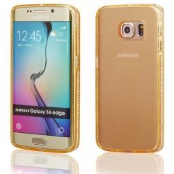 """Auksinės spalvos silikoninis dėklas su blizgučiais Samsung Galaxy S6 Edge G925 telefonui """"Crystals"""""""