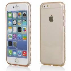 """Auksinės spalvos silikoninis dėklas su blizgučiais Apple iPhone 6/6s telefonui """"Crystals"""""""