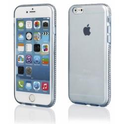 """Mėlynas silikoninis dėklas su blizgučiais Apple iPhone 6/6s telefonui """"Crystals"""""""