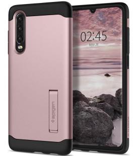"""Rausvai auksinės spalvos dėklas Huawei P30 telefonui """"Spigen Slim Armor"""""""