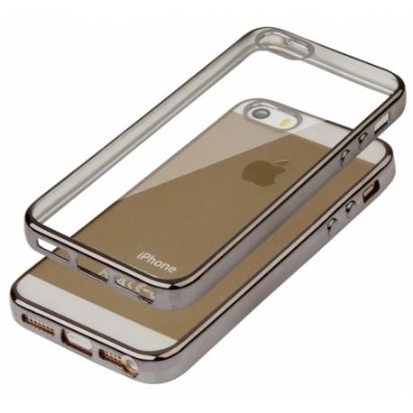 """Juodas silikoninis dėklas Apple iPhone 5/5s/SE Telefonui """"Glossy"""""""