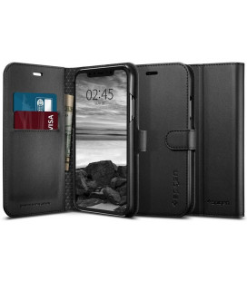 "Juodas atverčiamas dėklas Apple iPhone XR telefonui ""Spigen Wallet S"""
