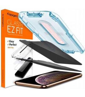 """Juodas apsauginis grūdintas stiklas Apple iPhone XR / 11 telefonui """"Spigen AlignMaster Privacy"""""""