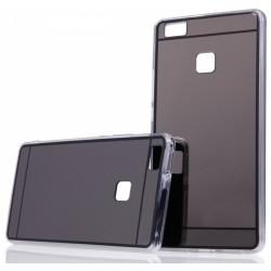 """Juodas silikoninis dėklas su veidrodiniu dangteliu Huawei P9 Lite telefonui """"Mirror"""""""