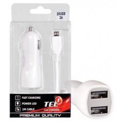 """Automobilinis 12v/24v Micro USB 2A įkroviklis """"Tel1"""""""