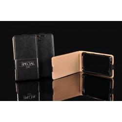 """Odinis juodas vertikaliai atverčiamas klasikinis dėklas Sony Xperia M4 Aqua telefonui """"Vertical Special Case"""""""