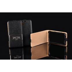 """Odinis juodas vertikaliai atverčiamas klasikinis dėklas Sony Xperia Z5 telefonui """"Vertical Special Case"""""""