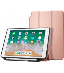 """Rausvai auksinės spalvos atverčiamas dėklas Apple iPad 9.7 2017/2018 planšetei """"Spigen Smart Fold 2"""""""