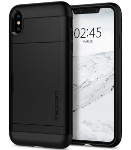 "Juodas dėklas Apple iPhone X/XS telefonui ""Spigen Slim Armor CS"""