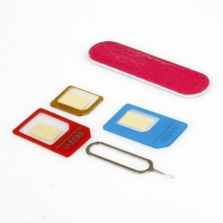 SIM kortelių adapteriai nano / microSIM 5in1 + raktas
