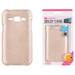 """Auksinės spalvos dėklas Mercury Goospery """"Jelly Case"""" Samsung Galaxy J1 2016 J120 telefonui"""