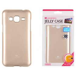 """Auksinės spalvos dėklas Mercury Goospery """"Jelly Case"""" Samsung Galaxy J3 2016 J320 telefonui"""