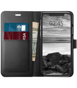 """Juodas atverčiamas dėklas Apple iPhone XS Max telefonui """"Spigen Wallet S"""""""