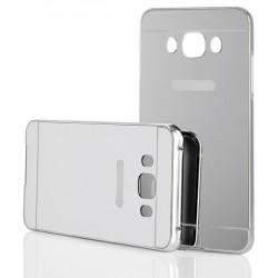 Sidabrinės spalvos metalinis rėmelis su veidrodiniu dangteliu Samsung Galaxy J5 2016 J510 telefonui