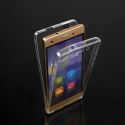 """Skaidrus silikoninis dėklas LG K4 K130 Telefonui """"Fitty Double"""" Skirtas apsaugoti telefono nugarėle ir ekraną."""