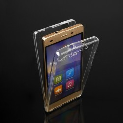 """Skaidrus silikoninis dėklas Sony Xperia M5 Telefonui """"Fitty Double"""" Skirtas apsaugoti telefono nugarėle ir ekraną."""