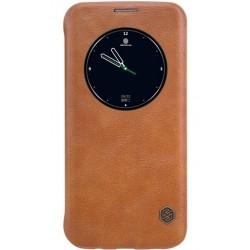 """Odinis rudas atverčiamas dėklas Samsung Galaxy S7 Edge G935 telefonui """"Nillkin Qin"""""""