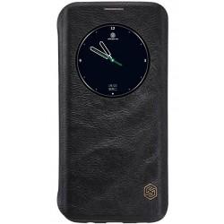 """Odinis juodas atverčiamas dėklas Samsung Galaxy S7 Edge G935 telefonui """"Nillkin Qin"""""""
