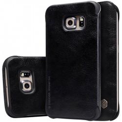 """Odinis juodas atverčiamas dėklas Samsung Galaxy S6 G920 telefonui """"Nillkin Qin"""""""