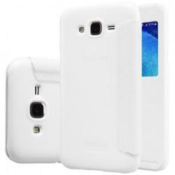 """Atverčiamas baltas dėklas Samsung Galaxy J5 2016 J510 Telefonui """"Nillkin Sparkle S-View"""""""