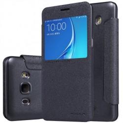 """Atverčiamas juodas dėklas Samsung Galaxy J5 2016 J510 Telefonui """"Nillkin Sparkle S-View"""""""