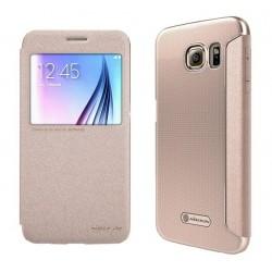 """Atverčiamas auksinės spalvos dėklas Samsung Galaxy S6 G920 Telefonui """"Nillkin Sparkle S-View"""""""