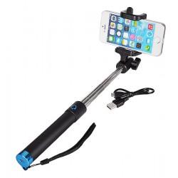 """Teleskopinė mėlyna lazda asmenukėms """"Selfie"""" daryti su mygtuku """"Premium Selfie Stick"""""""