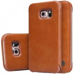 """Odinis rudas atverčiamas dėklas Samsung Galaxy S6 G920 telefonui """"Nillkin Qin"""""""