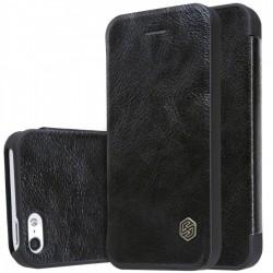 """Odinis juodas atverčiamas dėklas Apple iPhone 5/5s/SE telefonui """"Nillkin Qin"""""""