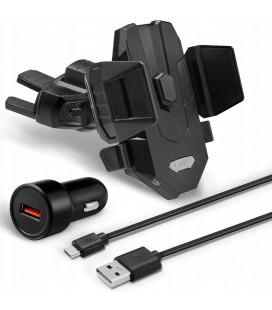 """Juodas automobilinis telefonų laikiklis i CD grotuvą su belaidžio krovimo funkcija (Komplektas) """"Spigen X35W"""""""