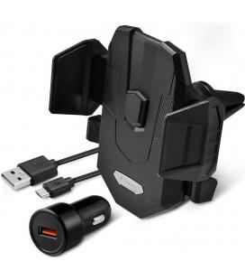 """Juodas automobilinis telefonų laikiklis i groteles su belaidžio krovimo funkcija (Komplektas) """"Spigen X35W"""""""