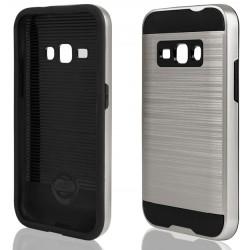 """Sidabrinės spalvos dėklas Samsung Galaxy J1 2016 telefonui """"Motomo"""""""