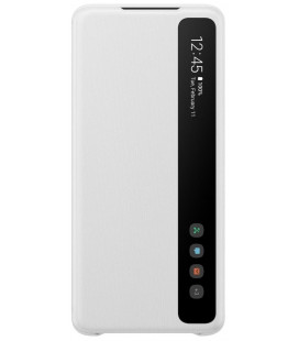 """Originalus baltas atverčiamas dėklas """"Clear S-View Case"""" Samsung Galaxy S20 Plus telefonui """"EF-ZG985CWE"""""""