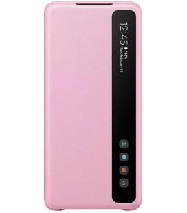 """Originalus rožinis atverčiamas dėklas """"Clear S-View Case"""" Samsung Galaxy S20 Plus telefonui """"EF-ZG985CPE"""""""