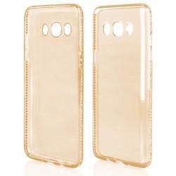 """Auksinės spalvos silikoninis dėklas su blizgučiais Samsung Galaxy J5 2016 J510 telefonui """"Crystals"""""""