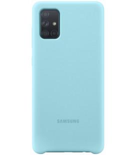 "Originalus mėlynas dėklas ""Silicone Cover"" Samsung Galaxy A71 telefonui ""EF-PA715TLE"""
